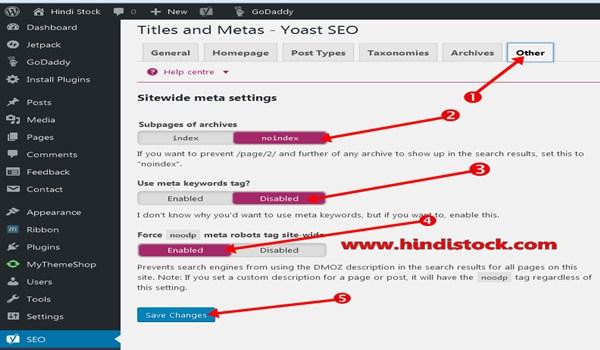 Yoast SEO others setting page