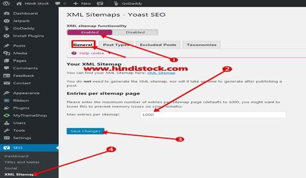 Yoast SEO sitemap setting page