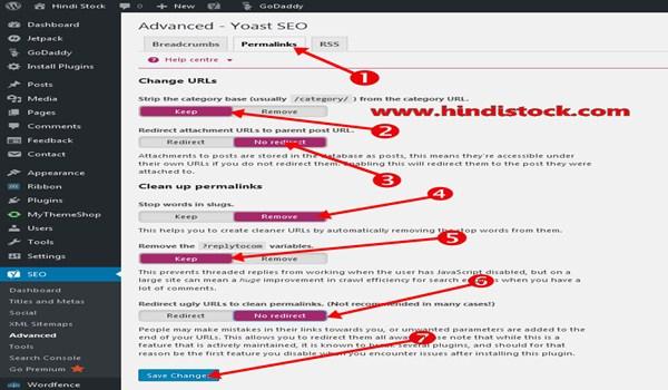 Yoast SEO permalink setting page