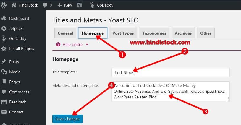 Yoast SEO homepage setting page