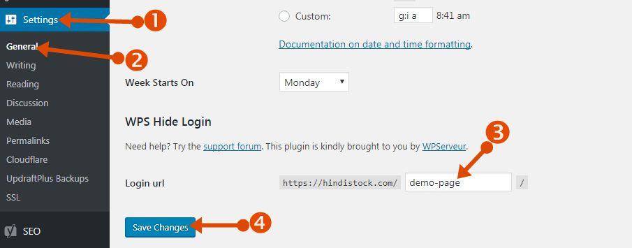 WordPress Login URL Change save plugin setting