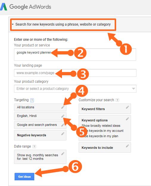 google keyword planner find keyword