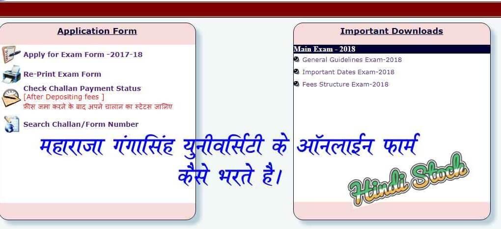 MGSU Online Form 2018-19 फार्म कैसे भरे – पूरी जानकारी हिंदी में